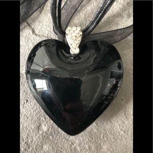 Genuine Italian Murano glass heart pendant 🖤❤️